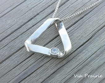 Mobius strip etsy triangle necklace mistical triangle infinity triangle gift for her pyramid necklace mozeypictures Image collections