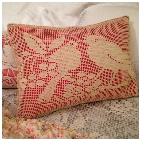 So Lovely Vintage French Handworked 20s 30s Birds Pillow