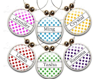 Personalized Wine Charms, Wine Gift, Custom Wine Charms, Wine Jewelry, Custom Wine Glass Charm, Polka Dot Wine Charms, Wine Accessory
