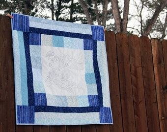 Guardian Angel Baby Quilt, Nursery Wall Hanging Quilt