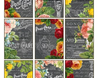 ATC Floral post cards. Digital download.