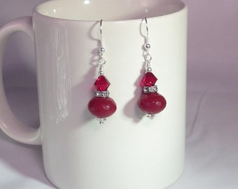 Red Faceted Stone Earrings With Swarovski Crystal And Silver.