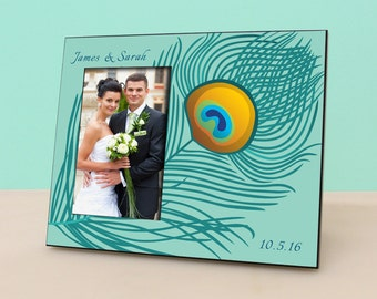 Personalized Wedding Frame - Peacock - Anniversary - Personalized Picture Frame - Photo Frame Wedding Gift - Bridal Shower Gift- PF1007