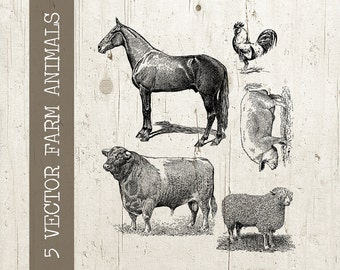Farm Animals Collage Sheet 5 Vintage Antique Digital Animal Illustration Vector Graphic - Plus Background - png and eps INSTANT Download
