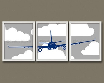 "8x10 (3) NURSERY AIRPLANE PRINTS - Nursery Art, Nursery Decor, Children's Art - Airplane ""Jet Airliner"""