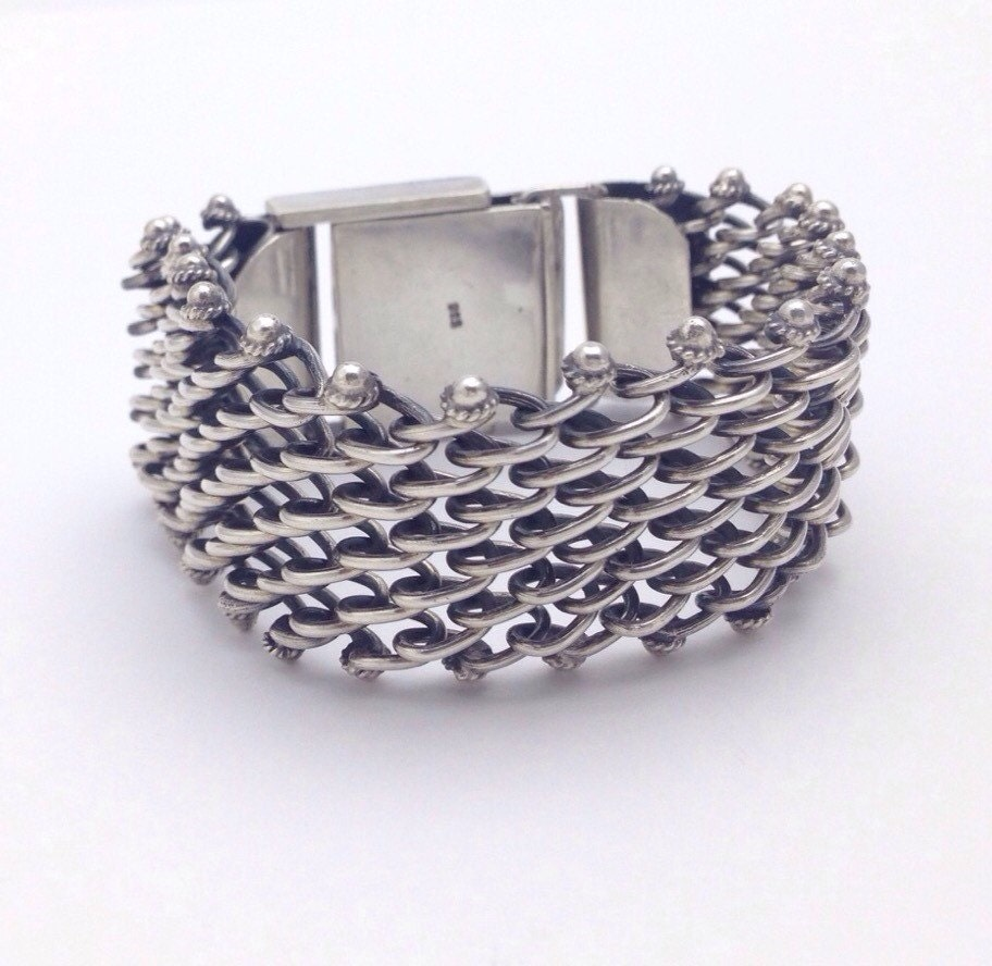 Wide Silver Bracelet: Chainmaille Sterling Silver Bracelet Wide By LoftyMixVintage