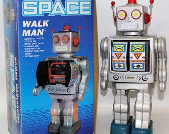 Vintage 1990's Tin Lithographed Battery Operated Silver SPACE 'Walk Man' ROBOT in Box
