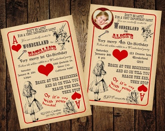 Alice in Wonderland Invitation - Vintage Playing Card Tea Party - for Birthday, Baby Shower, Bridal shower Tea Party - Printable DIY