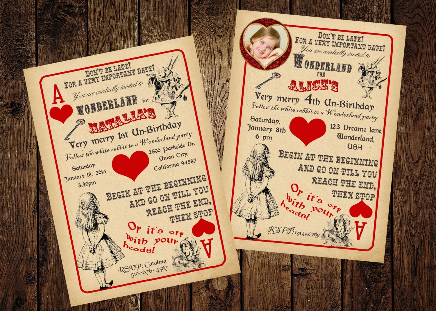Alice in Wonderland Invitation Vintage Playing Card Tea – Playing Card Invitation