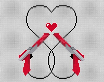 Video Game Love - Cross Stitch Pattern (PDF) - INSTANT DOWNLOAD
