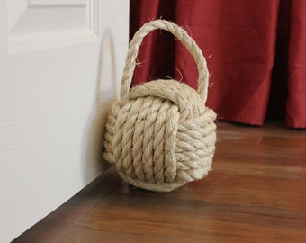 Nautical rope door stop with handle - large monkey fist knot - nursery or home decor - sisal rope knot decor