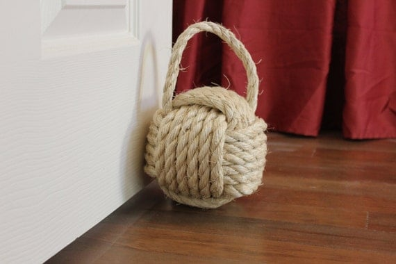 Nautical rope door stop with handle large monkey fist knot for Large nautical rope