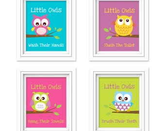 Owl Bathroom Prints Little Owls Wash Their Hands Print Kids Bathroom Decor Bathroom