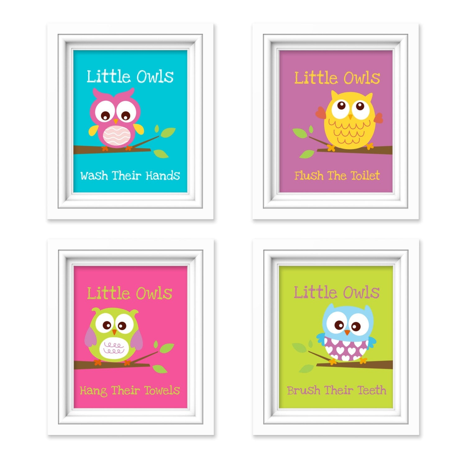 Owl Bathroom Prints Little Owls Wash Their Hands Print