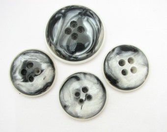 Grey and White Coat buttons, Set of 3 Large 1 Extra large Buttons, Original 1960s Vintage Sewing buttons, never used!!