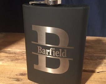 Personalized Black Flask Engraved 8oz Stainless Steel Flask Perfect Groomsmen Gifts