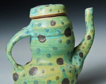 Decorative Stoneware Teapot, Tip My Hat to You