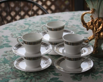 "Vintage 1970's Royal Tuscan ""Cascade"" English Bone China coffee or tea Cups (6)"
