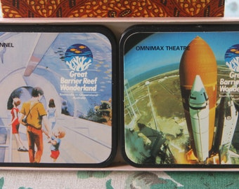Vintage Great Barrier Reef Wonderland 1980's Commemorative Souvenir Bar Coasters Set of 6