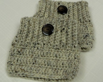 Crocheted Oatmeal Boot Cuffs--One Pair