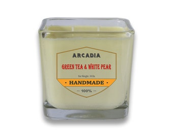 Green Tea & White Pear Candles, Hand poured candles, Double wick candles, Cotton wicks candles