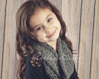 Pattern Lace Infinity Knit Scarf Pattern for Child and Adult