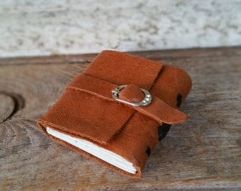 Miniature Leather Bound Book ,Tiny Recycled Leather Journal , Mini Wee Book, Mustard