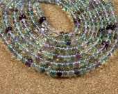 Flourite Rondelle Beads - Purple and Green Smooth Transparent Beads, 15 inch strand