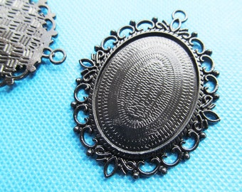 Black/Silver Plated Oval Frame Base Setting Tray Bezel Pendant Charm/Finding,Border Flower,fit 30mmx40mm Cabochon/Cameo,DIY