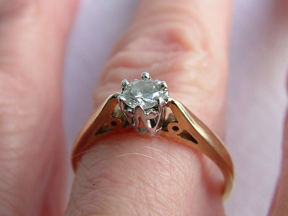 Vintage 25 Carat Diamond Gold Ring Quarter Carat Diamond