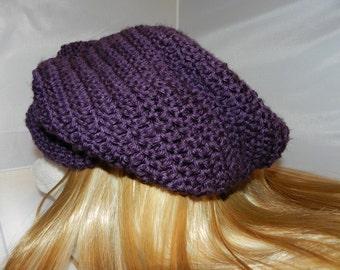 Crocheted Slouchy Beanie  Purple
