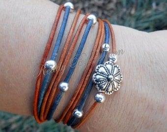 Pick SIZE - Boho LEATHER Triple Wrap Bracelet w/Extension - Metal Floral Focal - Tibetan Beads - Leather Cord / Bohemian - Gypsy Wrap - Usa