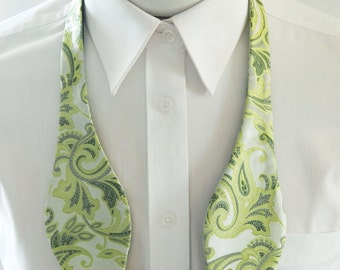 Mens Bowtie Shades Of Green Paisley Self Tie Bow Tie