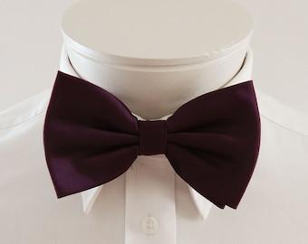 Mens Bowtie Deep Eggplant Purple Banded Pre Tied Bow Tie