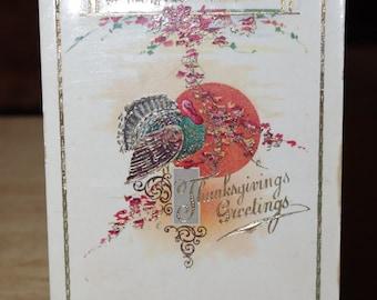Beautiful Gilted Thanksgiving Postcard Unused