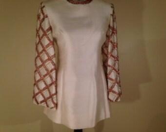 1969 Raw Silk Beaded Tunic, Small