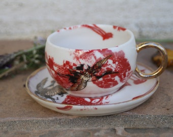 Espresso Cup handmade ceramic espresso cup gold gilded cup crane bird pottery espresso cups espresso gifts for him gifts for her