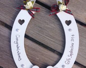 Personalised tartan lucky wedding horseshoe Scottish wedding gift hanging decoration