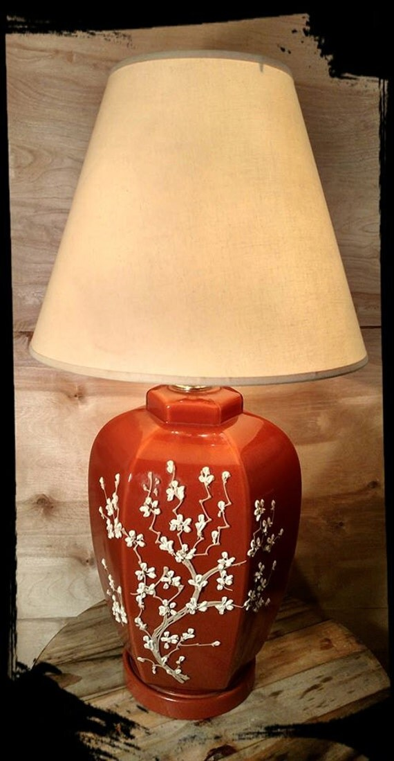 Vintage Ceramic Table Lamp Orange Rust Color By Flavsantiques