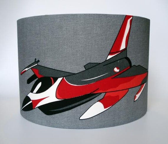 Fighter jet lampshade in blue or grey for boys ceiling or bedside lights