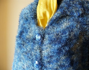 Unique Hand Knit Women's Cardigan in Blue shades / Blue Fluffy Sweater / Blue Hand Knit Women's Cardigan / Loose Sweater / Blue Jumper