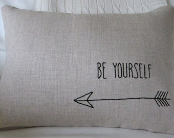 """Hand-Embroidered """"Be Yourself"""" Saying on 100% Natural Unbleached Linen 12 x 18 Lumbar Pillow Cover"""