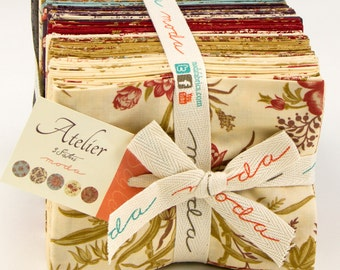"Atelier by 3 Sisters for Moda Fabrics Fat Quarter Bundle 44050AB. Bundle includes 40 fat quarters 18"" x 22"". Gorgeous rich color palette!"