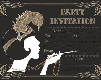 10 x Great Gatsby Birthday Anniversary Party Invitations