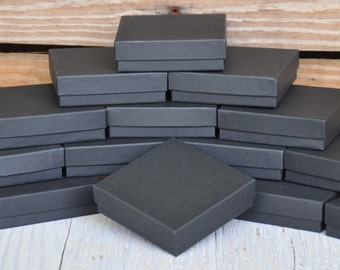 20 - 3.5x3.5x1 Black Jewelry Boxes Square Matte Retail Presentation with Cotton Fill