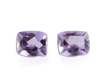 African Amethyst Loose Gemstones Set of 2 Cushion Cut 1A Quality 5x4mm TGW 0.70 cts.