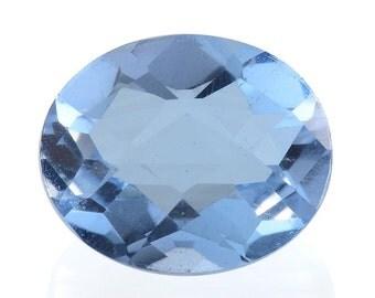 Blue Quartz Triplet Checkerboard Oval Cut Loose Gemstone 1A Quality 11x9mm TGW 2.85 cts.