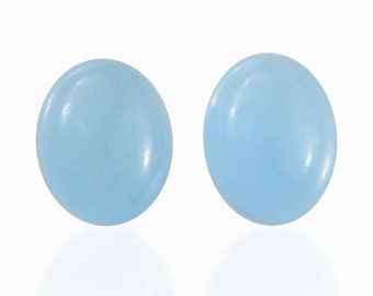 Blue Jade Dyed Oval Cabochon Loose Gemstones Set of 2 1A Quality 9x7mm TGW 4.10 cts.