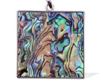 Abalone Shell Square Pendant without Chain in Silver-tone