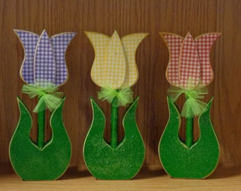 Spring Decor, Flowers, Tulips set of 3